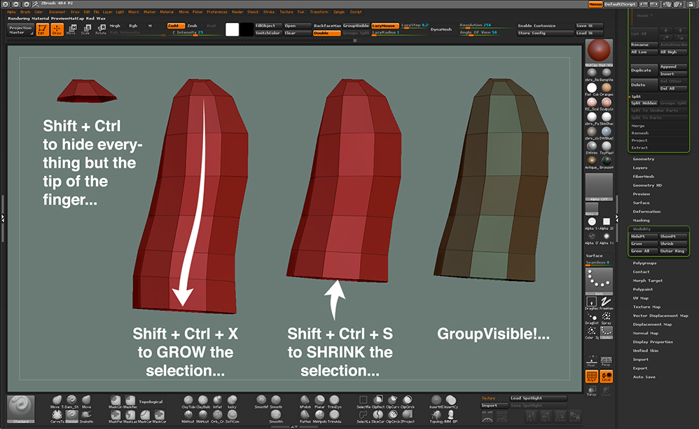 Grow & Shrink Selections in ZBrush